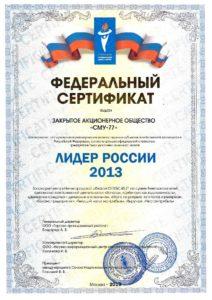 Сертификат Лидер-2013